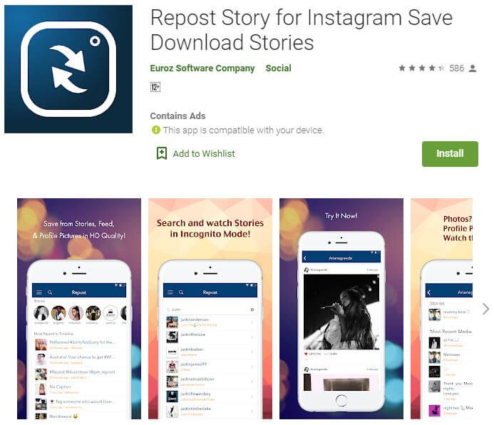 دانلود از اینستاگرام با Repost Story