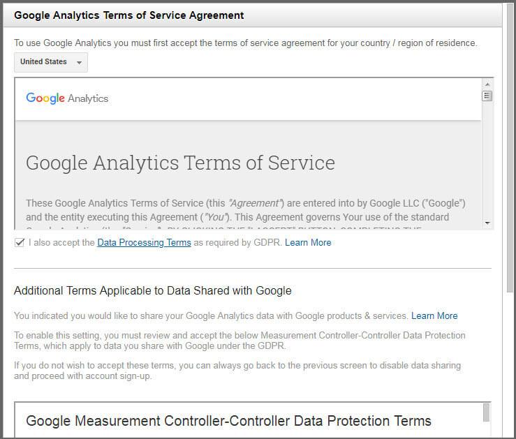 مرحله سوم ثبت نام در گوگل آنالیتیکس