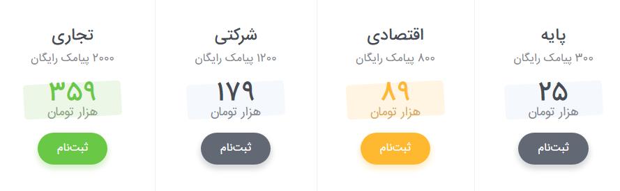 قیمت های ملی پیامک